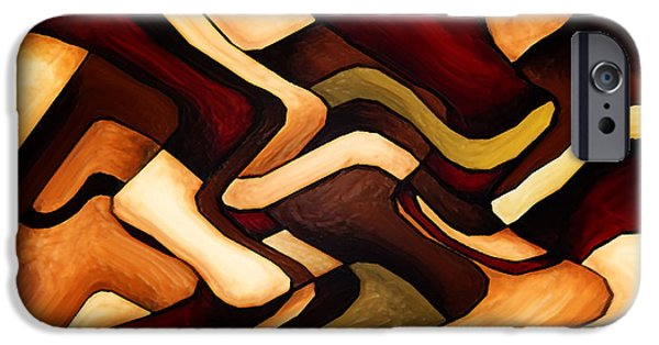 Red Abstract iPhone Cases - Earth Weave iPhone Case by Vicky Brago-Mitchell
