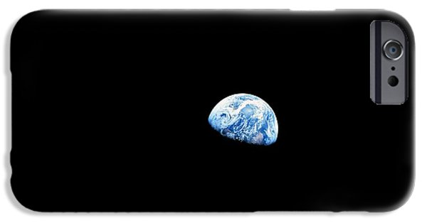 Lunar iPhone Cases - Earthrise Over Moon, Apollo 8 iPhone Case by Nasa