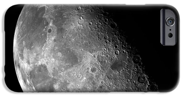 Nebula Images iPhone Cases - Earths Moon in Black and White iPhone Case by The  Vault - Jennifer Rondinelli Reilly