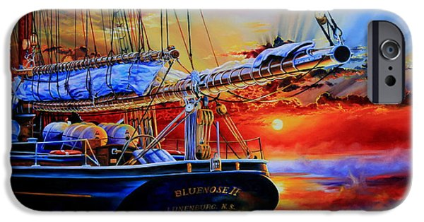 Tall Ship iPhone Cases - Red Sky In The Morning iPhone Case by Hanne Lore Koehler