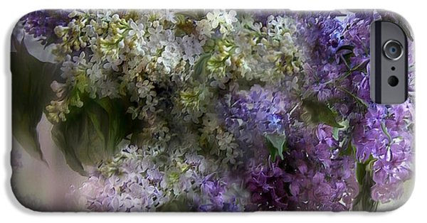 Lilac Flower iPhone Cases - Easter Lilacs iPhone Case by Carol Cavalaris
