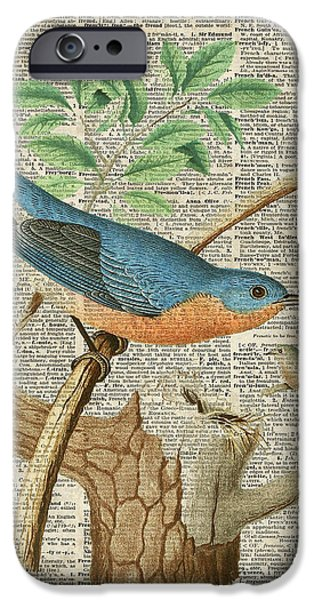 The Trees Mixed Media iPhone Cases - Eastern Blue Birds iPhone Case by Jacob Kuch