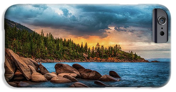 Lake iPhone Cases - Eastern Glow at Sunset iPhone Case by Anthony Bonafede
