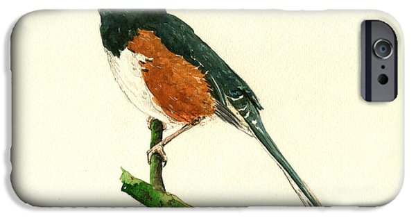 Small Paintings iPhone Cases - Eastern Towhee bird iPhone Case by Juan  Bosco