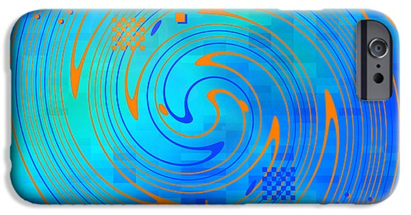 Blue Abstracts iPhone Cases - Ebb and Flow iPhone Case by Jennspoint