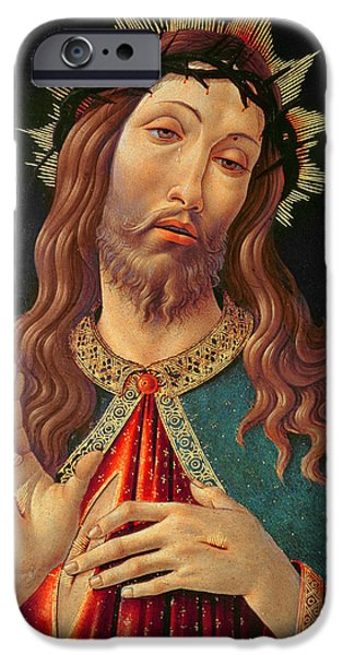 Tear Paintings iPhone Cases - Ecce Homo or The Redeemer iPhone Case by Botticelli