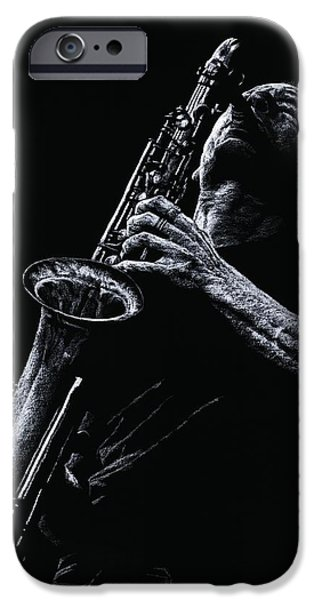 Celebrities Pastels iPhone Cases - Eclectic Sax iPhone Case by Richard Young