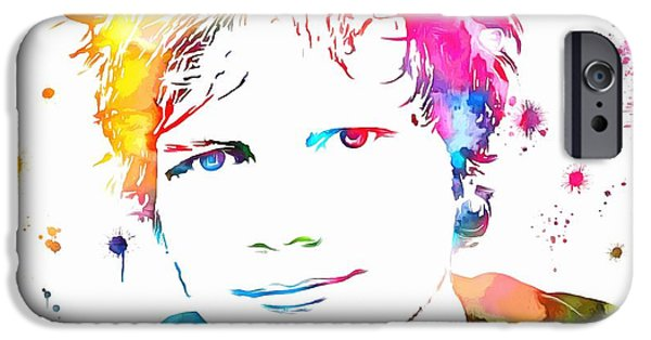 Elton John iPhone Cases - Ed Sheeran Paint Splatter iPhone Case by Dan Sproul