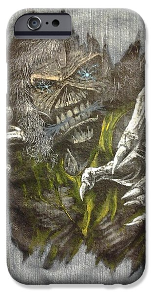 Mascots Mixed Media iPhone Cases - Eddie the metal  ed iPhone Case by William Boehmer