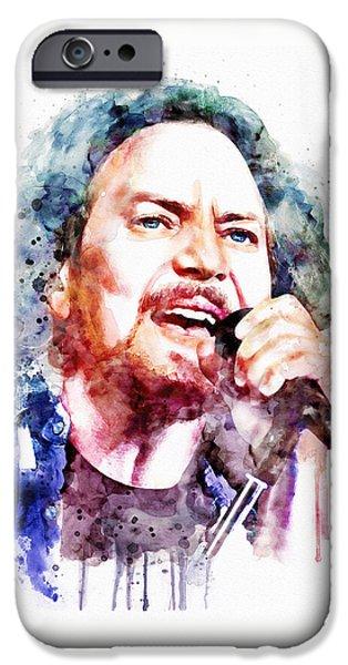 Pearl Jam iPhone Cases - Eddie Vedder watercolor iPhone Case by Marian Voicu