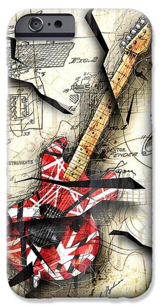 Van Halen iPhone Cases - Eddies Guitar iPhone Case by Gary Bodnar