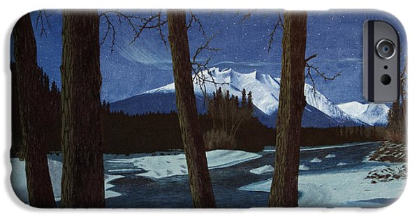 Snowy Night iPhone Cases - Eddy Park Moonlight iPhone Case by Stanza Widen
