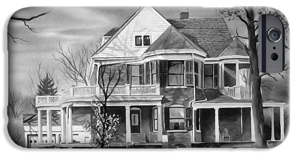 Haunted House iPhone Cases - Edgar Home BW iPhone Case by Kip DeVore