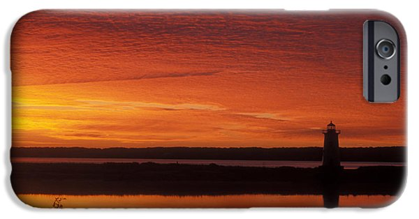 Martha iPhone Cases - Edgartown Lighthouse Sunrise iPhone Case by John Burk