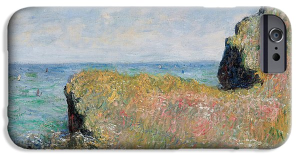 Rural iPhone Cases - Edge of the Cliff Pourville iPhone Case by Claude Monet