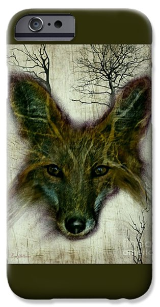 Wild Life Drawings iPhone Cases - Edgy Fox iPhone Case by Craig Williams
