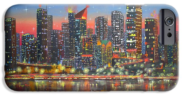 Business Paintings iPhone Cases - Edmonton By Night iPhone Case by Mohamed Hirji