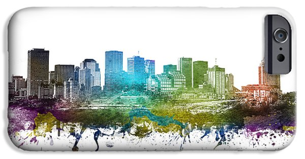 Colour Drawings iPhone Cases - Edmonton cityscape 01 iPhone Case by Aged Pixel