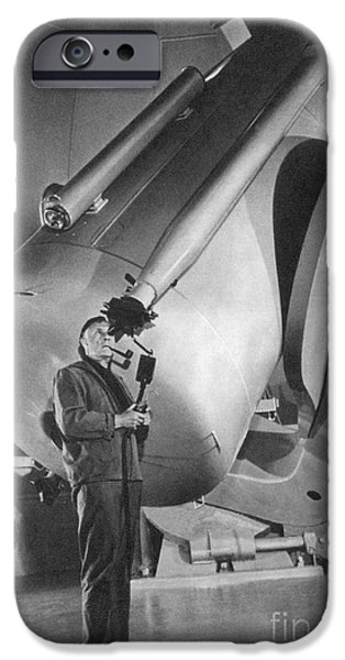 Personalities Photographs iPhone Cases - Edwin Hubble And Telescope Palomar iPhone Case by Science Source