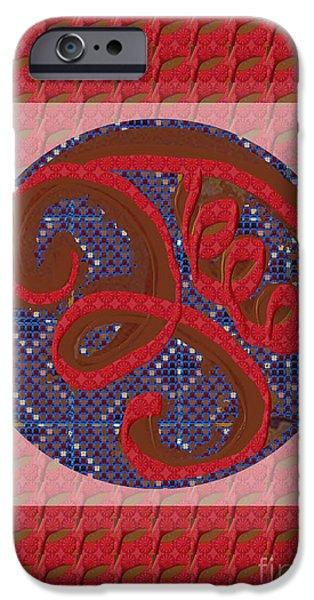 Serpent Mixed Media iPhone Cases - EEYAWA Karuna Reiki Healing Symbol art buy posters greetings pillows duvet covers phone cases tote b iPhone Case by Navin Joshi