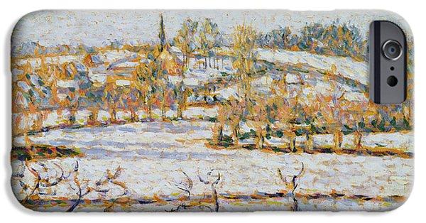Camille Pissarro iPhone Cases - Effect of Snow at Eragny iPhone Case by Camille Pissarro