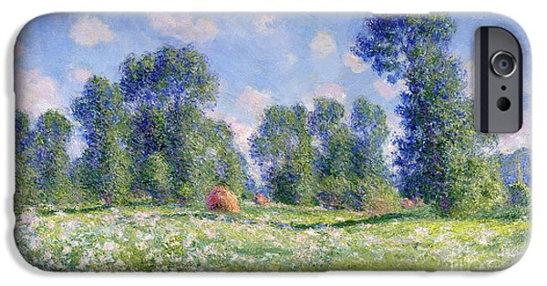 Farmland iPhone Cases - Effect of Spring at Giverny iPhone Case by Claude Monet