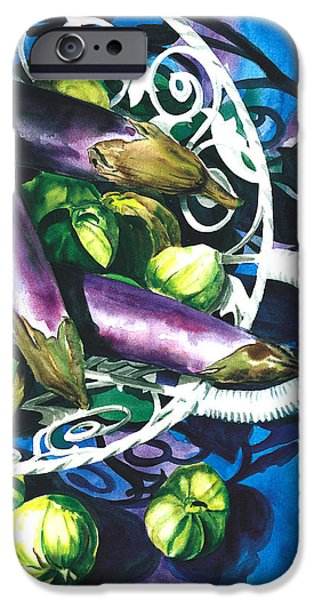 Nadi Spencer iPhone Cases - Eggplants iPhone Case by Nadi Spencer