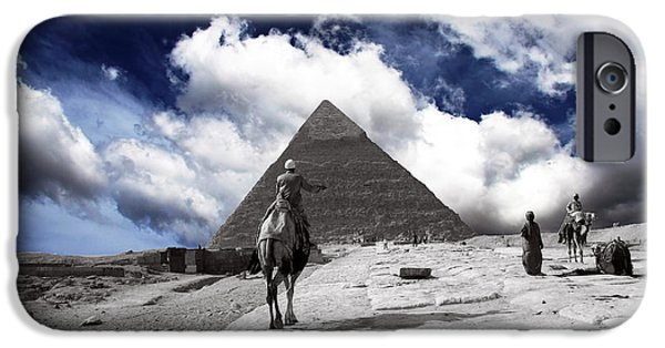 Pyramids Greeting Cards iPhone Cases - Egypt - Clouds Over Pyramid iPhone Case by Munir Alawi