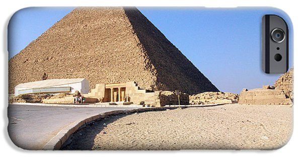 Pyramids Greeting Cards iPhone Cases - Egypt - Way to Pyramid iPhone Case by Munir Alawi