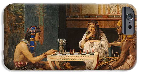 Thebes iPhone Cases - Egyptian Chess Players iPhone Case by Sir Lawrence Alma-Tadema
