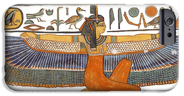 Ancient Paintings iPhone Cases - Egyptian Goddess Maat with Outstretched Wings iPhone Case by Ben  Morales-Correa