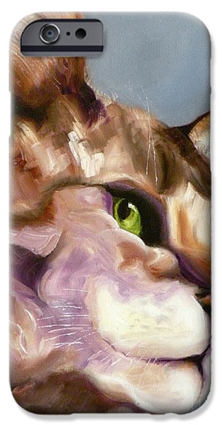 Cat Prints Drawings iPhone Cases - Egyptian Mau Princess iPhone Case by Susan A Becker