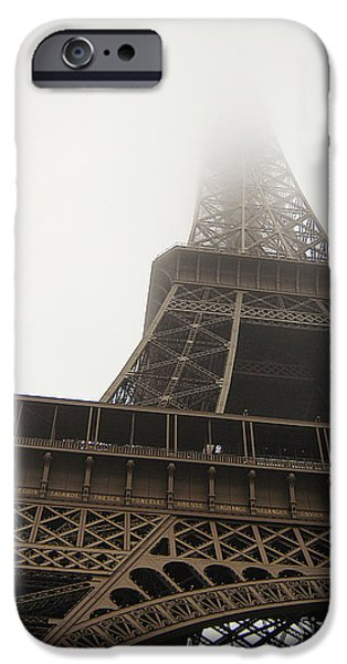 Fog Mist iPhone Cases - Eiffel In The Mist iPhone Case by Alexandra Lavizzari