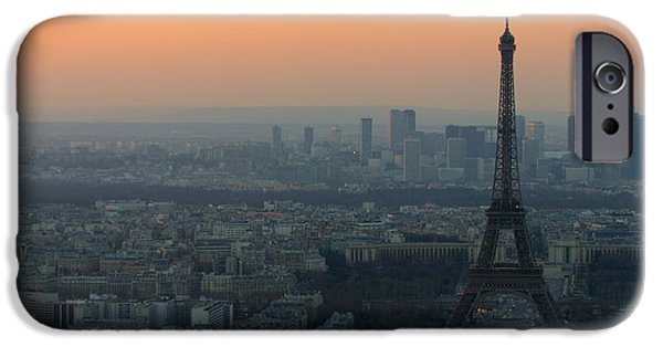 Structure iPhone Cases - Eiffel Tower at Dusk iPhone Case by Sebastian Musial