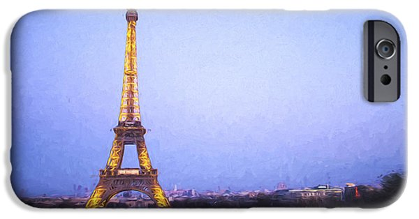 Built Structure iPhone Cases - Eiffel Tower at Dusk Van Gogh Style iPhone Case by David Smith