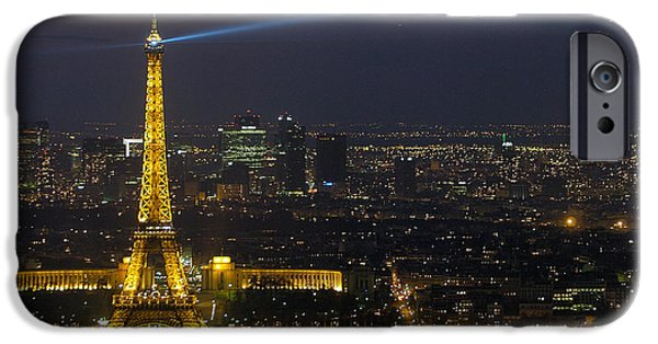 Buildings iPhone Cases - Eiffel Tower at Night iPhone Case by Sebastian Musial