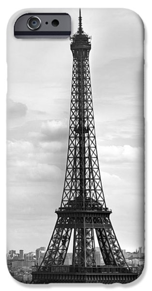 Iron iPhone Cases - Eiffel Tower BLACK AND WHITE iPhone Case by Melanie Viola