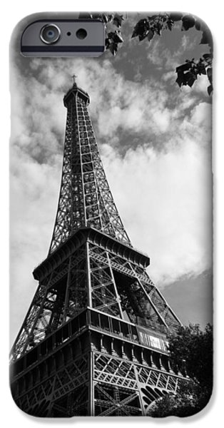 Nature Study iPhone Cases - Eiffel Tower Black and White iPhone Case by Sierra Vance