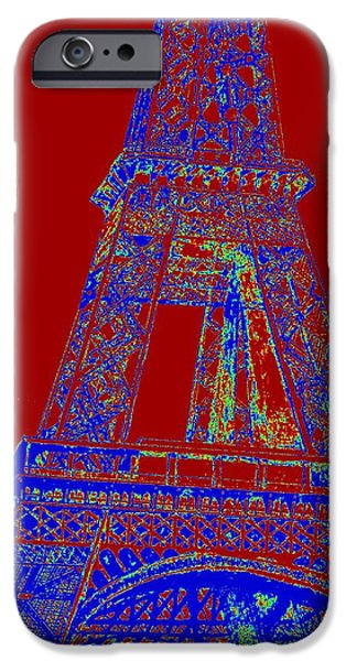 Built Structure Drawings iPhone Cases - Eiffel Tower Carnival iPhone Case by Irving Starr