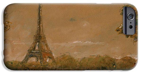 Paris Paintings iPhone Cases - Eiffel tower Paris watercolor iPhone Case by Juan  Bosco