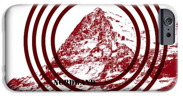 Red Rock Mixed Media iPhone Cases - Eiger Nordwand iPhone Case by Frank Tschakert