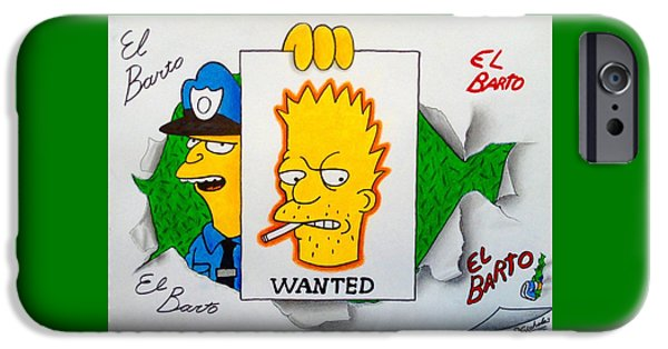 Police Pastels iPhone Cases - El Barto Drawing iPhone Case by Nikolai Jonasson