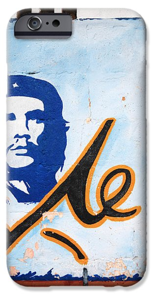 Politician iPhone Cases - El Che portrait on a wall iPhone Case by Deborah Benbrook