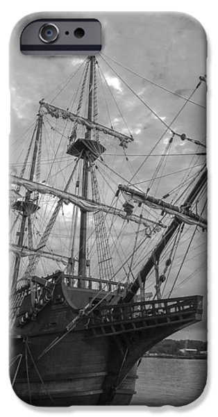 Pirate Ships iPhone Cases - El Galeon San Palayo Black and White iPhone Case by Jamie Anderson