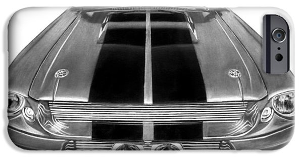Inverted Drawings iPhone Cases - Eleanor Ford Mustang iPhone Case by Peter Piatt