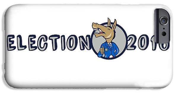 Election iPhone Cases - Election 2016 Democrat Donkey Mascot Cartoon iPhone Case by Aloysius Patrimonio