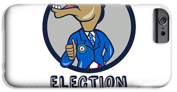 Election iPhone Cases - Election 2016 Democrat Donkey Mascot Circle Cartoon iPhone Case by Aloysius Patrimonio