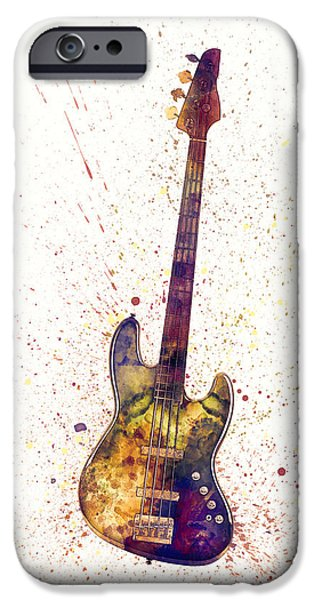 Strings Digital iPhone Cases - Electric Bass Guitar Abstract Watercolor iPhone Case by Michael Tompsett