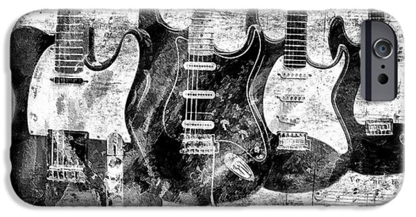 Electronic iPhone Cases - Electric Guitars Black and White iPhone Case by Athena Mckinzie