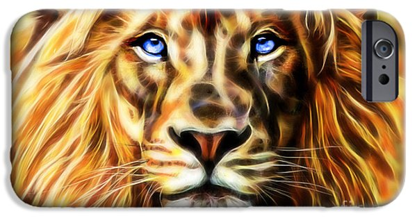 Lion iPhone Cases - Electric Lion Wall Art Collection iPhone Case by Marvin Blaine